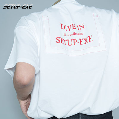 【SETUP-EXE】CUTTING POCKET T - SHIRT - WHITE
