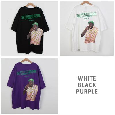 [UNISEX] スマイルパターンマンプリントショートスリーブtシャツ/半袖(3color 2size)