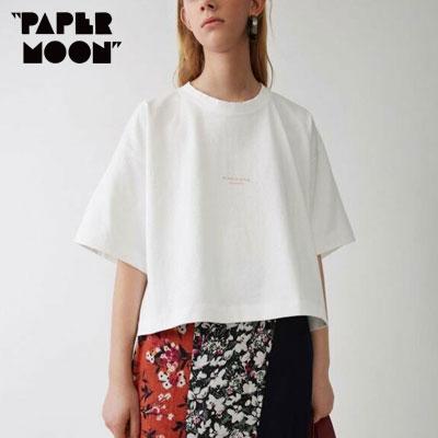 【PAPER MOON】スモールロゴポイントショートスリーブtシャツ/半袖 -white