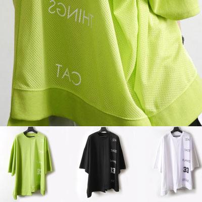 [UNISEX] ハーフメッシュアンバランスカットショートスリーブtシャツ/半袖(3color)