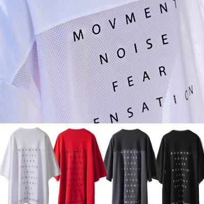 [UNISEX] バックロゴメッシュポイントショートスリーブtシャツ/半袖(4color)