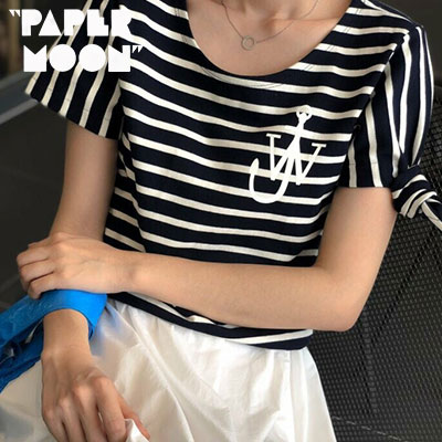 【PAPER MOON】いかりロゴサイドリボンショートスリーブtシャツ/半袖 -navyxnavy