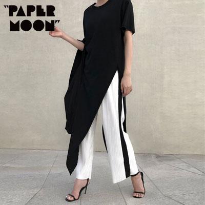【PAPER MOON】ブラックアンバランススリットロングtシャツ/半袖 -black