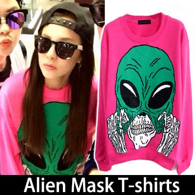 [35%OFF]ファッションアイコン2ne1のダラがインスタグラムで着用style!Alien Mask T-shirts(white,pink)
