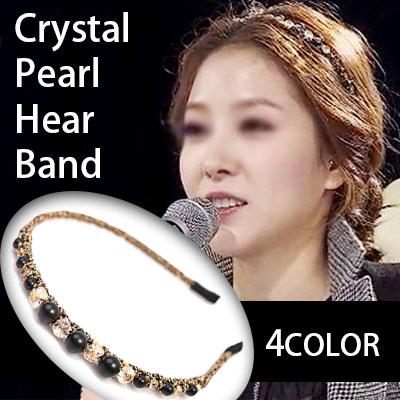 K-pop starのBOA Style!クリスタルパールヘアバンド(BLACK,IVORY,GRAY,GOLD)/Crystal Pearl Hair band