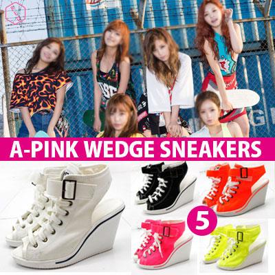 [再入荷完了!][22.5~25.0cm]A-PINK SBS 人気歌謡 COMEBACK STAGE [REMEMBER リメンバー]STYLE!WEDGE HILL SNEAKERS(5COLOR)/ウェッジソールスニーカー