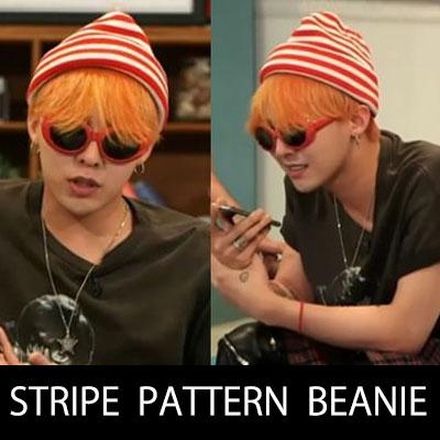 ★BIGBANG MADE アルバム活動中[NAVER CAST]出演当時のG-DRAGONファッションスタイル!ストライプパターンビーニー(3color)