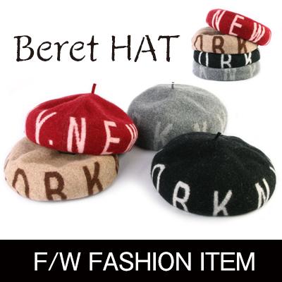 秋冬のファッショントレンドアイテム! 英字デザインウールベレー帽(4color)