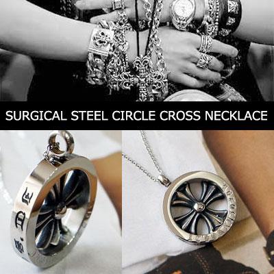 中世ヨーロッパのゴシックサージカルスチールサークルクロスネックレス/SURGICAL STEEL CIRCLE CROSS NECKLACE