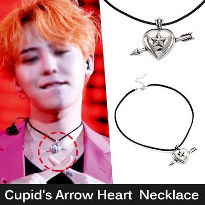 BIGBANG G-DRAGON [MADE]活動ファッションスタイル!キューピットハートの矢ペンダントネックレス/Cupid's Arrow Heart Pendant Necklace