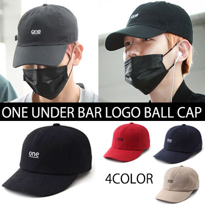 EXO ベクヒョン空港ファッションスタイル!ONE UNDER BAR LOGOボールキャップ(RED,BEIGE,BLACK,NAVY)