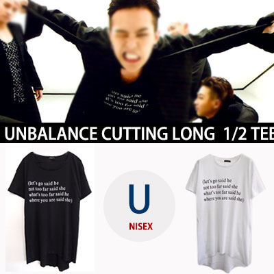 ★30%OFF SALE★G-DRAGON STYLE!リブ生地レタリングアンバランスカット半袖ロングTシャツ/BIGBANG MADE/WHITE,BLACK
