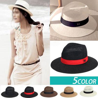 ラグジュアリースタイル!ビーチファッションに欠かせないMロゴパマナハット/女性帽子/フェドラ