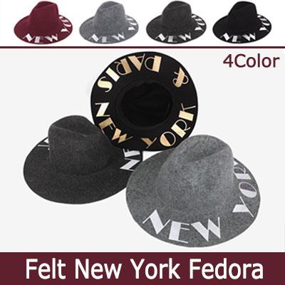 ニューヨークのレターリングがとてもおしゃれなフェルトNEWYORKハット/フェドラハット