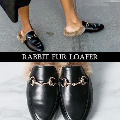 [RANG SHE] チョン・ジヒョン、ユ・アインなどファッションセレブに大ブレイク中!ラグジュアリースタイルラビットファーローファー/Bloafer