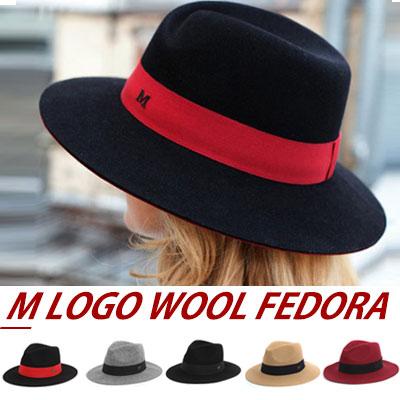 ラグジュアリースタイル!モダン、フェミニンルックにピッタリ!MロゴWOOL100%フェドラ/女性帽子/フェドラ
