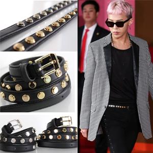 BIGBANG G DRAGON愛用私服スタイルスリムスタッドベルト(2color)