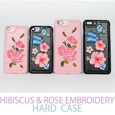 iPhone ハイビスカス & ローズ 刺繍 ハードケース/スマホカバー/スマホケース