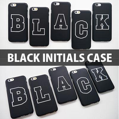 [HARD CASE] A~Zまで選べる ブラック イニシャル ハード スマホケース