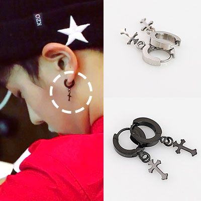 *BEAST イ・ギグァンSTYLE クロス ワンタッチ ピアス(2color) cross one touch pierce