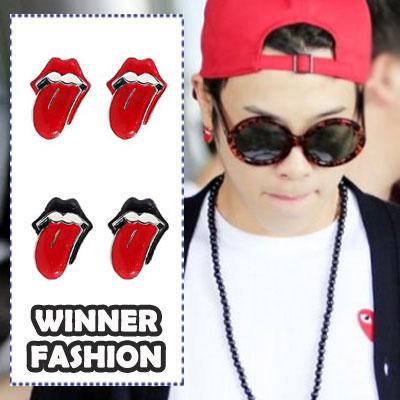 Kpop idol WINNERファッションアイテム|人気デザインのR@llingリップイヤリング(ペア)