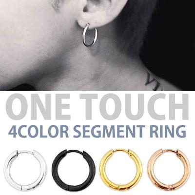 [選べる5サイズ/4カラー]g-dragon,sol,BTSなど韓国のアイドルのスタイル!ワンタッチ4色のセグメントイヤリング