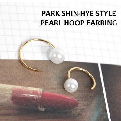 PARK SHIN-HYE STYLE! パールフープイヤリング(片耳1個)