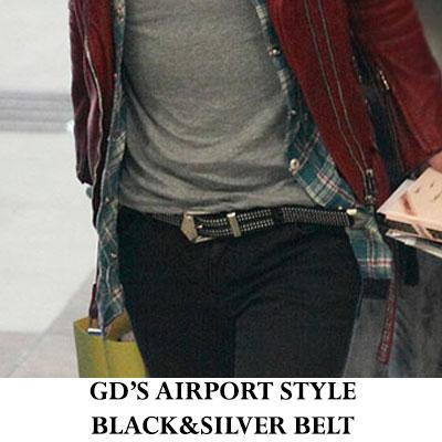 ビックバン(BIGBANG)のGDが空港ファッションと【韓国訪問の年】の公演で着用★シルバースタットベルト