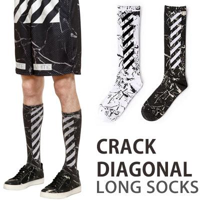 クラックダイヤゴノルロングソックス/靴下/2COLOR