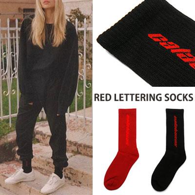 レッドレタリングソックス/靴下/2color
