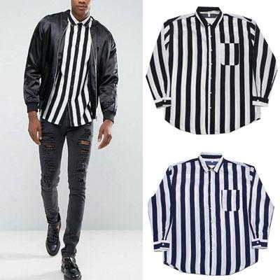 [UNISEX] ホワイト&ブラックストライプシャツ(2color)