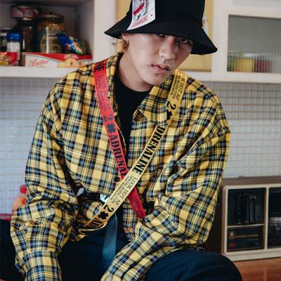【2XADRENALINE】オーバーサイズのチェックシャツ-YELLOW