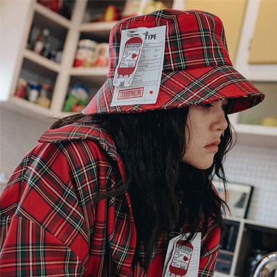 【2XADRENALINE】チェックバケットハット/レッド