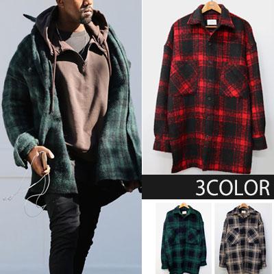 [UNISEX]  Kanye West st.オーバーサイズヘビーフランネルシャツ(3color)
