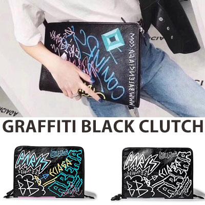 グラフィティブラッククラッチバッグ(2color)