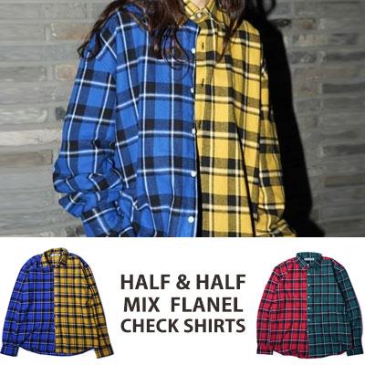 ★40%SALE★ [UNISEX] WANNA ONE Kang daniel,J-park st./HALF&HALF ミックスフランネルチェックシャツ(2color)