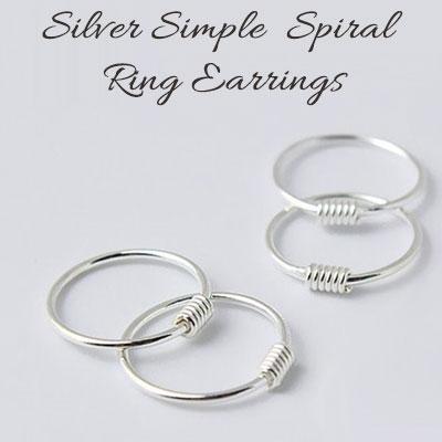 SILVER 925 シンプルスパイラルリングイヤリング(2ea)