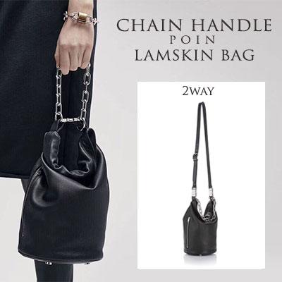 [LAMB SKIN/ラムスキン]チェーンハンドルポイントラムスキンバッグ