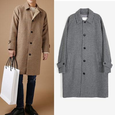 [WOOL MIX] クラシックラグランチェックコート(2color)