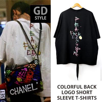 [UNISEX] bigbang/gd/gdragon st.カラフル後ろロゴショートスリーブTシャツ/半袖(2color)