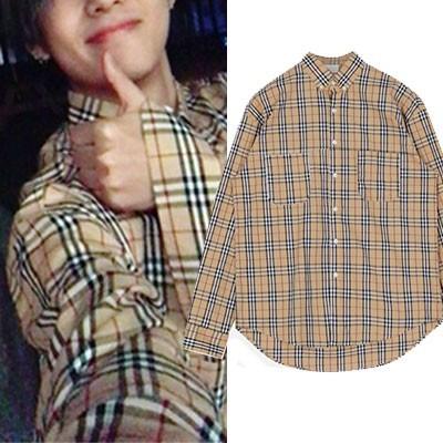 [UNISEX] BTS V,WINNER MINO st. チェックパターンロングスリーブシャツ(2color)