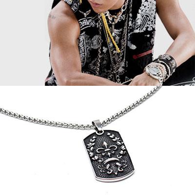 BIGBANG G-DRAGON st.サージカルスチール素材ロゴ刻印ペンダントネックレス