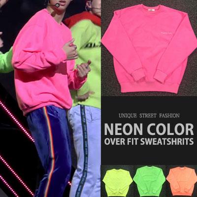 [UNISEX] BTS 防弾少年団 RM GOGO STYLE! ネオンカラーオーバフェットスウェットシャツ(4color)