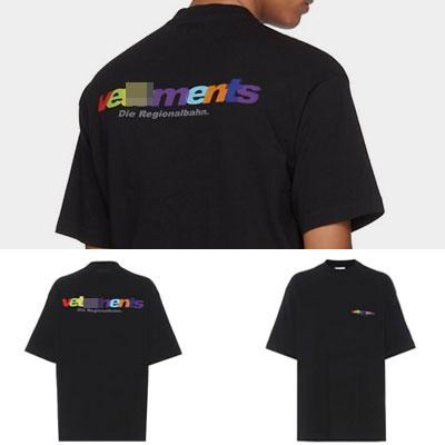 [UNISEX] レインボーカラーロゴショートスリーブTシャツ/半袖(2color)