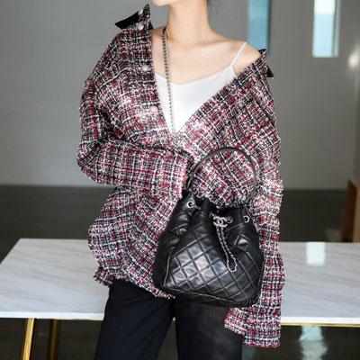 【PAPER MOON】オーバーサイズツイードシャツジャケット