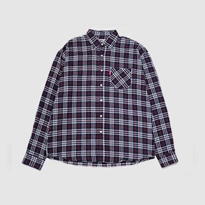 ★40%SALE★[UNISEX] ネイビースモールチェックオーバーサイズシャツ