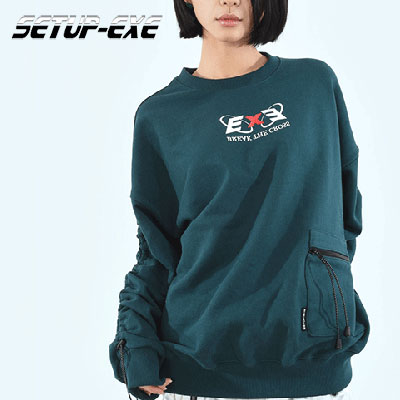 【SETUP-EXE】コードロックシャーリングスウェットシャツ - BLUE/GREEN