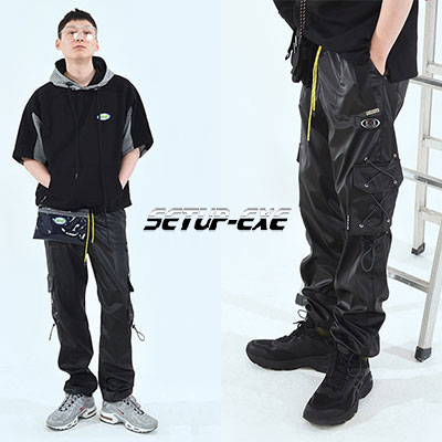 【SETUP-EXE】サイドポケットパンツ - SHINY BLACK