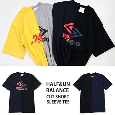 [UNISEX] ハーフ&アンバランスカットショートスリーブTシャツ/半袖(2color)