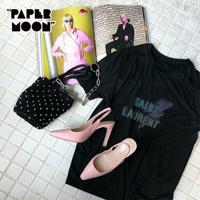 【PAPER MOON】ライトニング/ビンテージロゴショートスリーブTシャツ-black